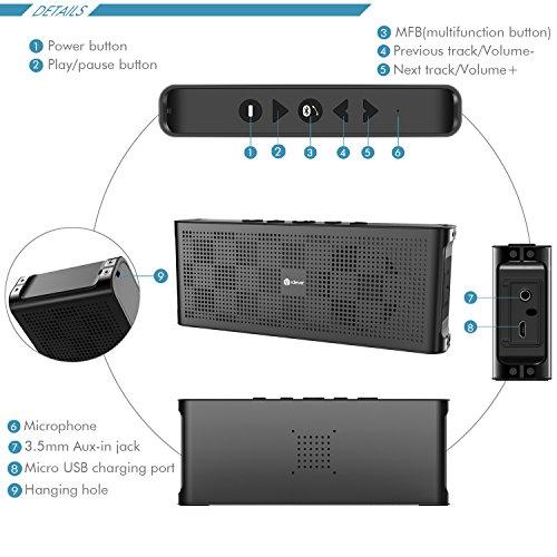 Mini Altavoz Bluetooth, iClever minialtavoz Inalambrico portail con Cubierta de Aluminio de Lujo,2 x 5 W Estereo Potente Llamadas de Manos Libres, ...