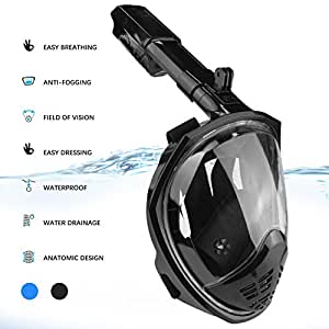 HOLDOOR Foldable 180 Panoramic View Full Face Snorkel Mask with Detachable Action Camera Mount - Anti-Fog, Anti-Leak, Easy Breathing - for Adults(Black,Small/Medium)