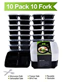 Meal Prep Containers for Food Storage Divided 3 Compartment with Lids,Portion Control Bento Box Lunch Box Set-Reusable,Stackable,Microwave,Dishwasher and Freezer Safe,20 Sporks