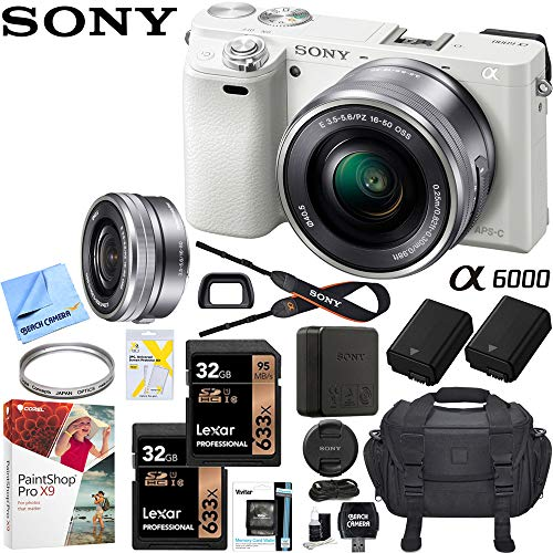 (Sony Alpha a6000 Mirrorless Digital Camera 24.3MP SLR (White) w/ 16-50mm Lens ILCE-6000L/W with Extra Battery Case + 2X Lexar Professional 633x 32GB SDHC/SDXC UHS-I Card Bundle)