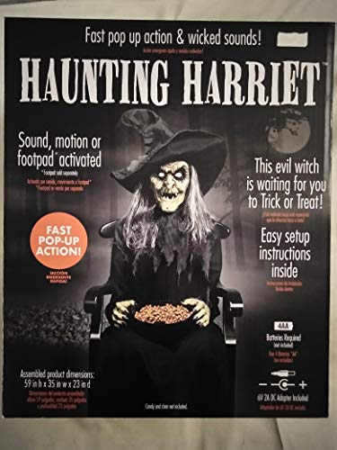 Animatronics Halloween Prop Decor Haunted House Super Scary Haunting Harriet Witch, Wicked Sounds, Fast Pop-Up Action, Reach Into Candy Bowl and Witch Jumps Up and Makes Scary Sound Ages 17+]()