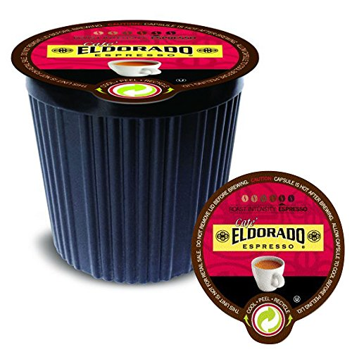 Eldorado Espresso Blend K Cup Coffee Pods | Cafe Eldorado Dark Roast 100% Arabica Blend for Keurig Brewers (12 Pack)