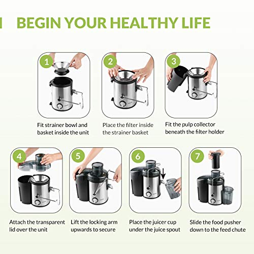 Easehold Juicer Machines Extractor 400W Centrifugal Juicers Electric Anti-Drip Dual Speed BPA-Free with Juice Jug and Pulp Container for Fruit Vegetable
