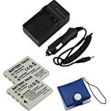 BIRUGEAR Travel AC/DC Charger with Car Adapter + 2 x KLIC-7005 / KLIC7005 / Pentax D-LI8 / Fuji NP-40 Compact Battery + Memory Card Case for Kodak EasyShare C763; Pentax Optio A10, A20, A30, A40, P70; Fuji FinePix Z1, Z2, Z3, Z5, J50 Digital Camera