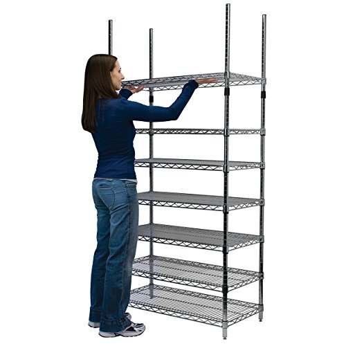 Akro-Mils AWP74UPRIGHT 74-Inch NSF Approved Industrial Grade Chrome Wire Shelf System Upright Leg, (Pack of 4)