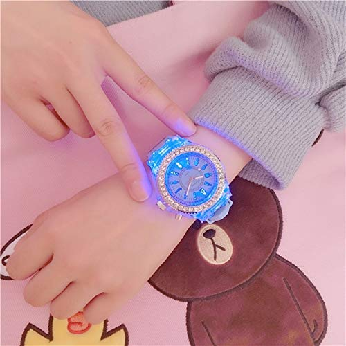high School Students Unique Fashion Lovers Luminous Fluorescent Candy Colored Jelly Watch Korean Girl boy Girl Child (Sky Blue Diamond subsection (+ Feeding Cassette c