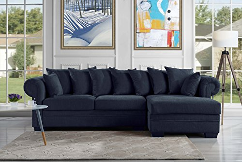 Modern Large Fabric Sectional Sofa, L-Shape Couch with Extra Wide Chaise Lounge (Navy)