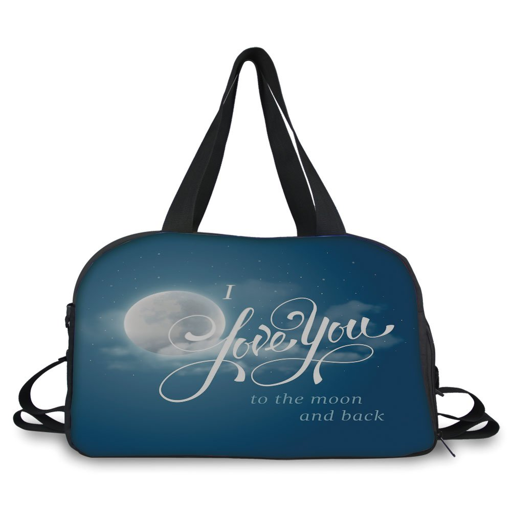 iPrint Travelling bag,I Love You,Night Sky with Full Moon between Stars Cloud Dramatic Romance Wedding Image,Dark Blue Pearl ,Personalized