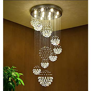 Spiral Nine Sphere Raindrop Crystal Chandelier Lighting