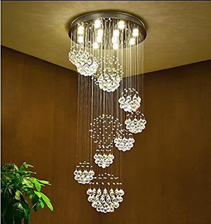 Captivating Moooni Modern Large Crystal Chandelier Lighting Raindrop Ceiling Light  Fixture For Staircase Porch Hallway W31.