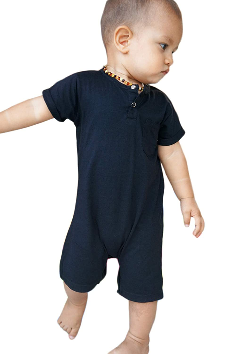 Hey Hendrix Apparel Bamboo Baby Romper Black from Organically Grown Bamboo