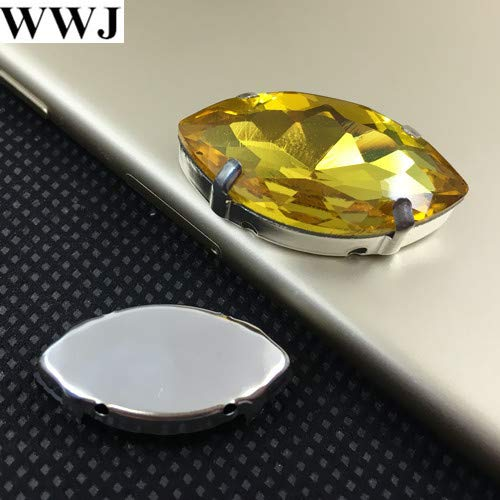 Navette Fancy Stone - Calvas Gold yollow Color Sew On Crystal Navette Fancy Stone with Claw Setting 5x10mm,6x12mm,7x15mm,9x18mm,13x27mm,17x32mm for Jewelry - (Item Diameter: 5x10mm 20pcs)