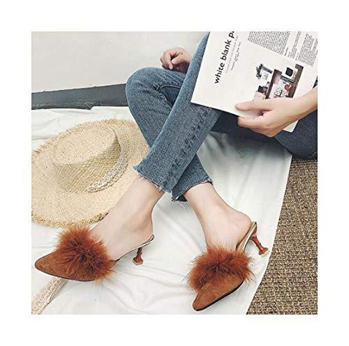 Forte Couleur Des L'extérieur Caramel Cool D'usure Baotou Chaussures Cat D'été À Porter Avec Patin Pantoufles Semi Et Zhaoxiangxiang Pantoufles Sèche Uqg4wg
