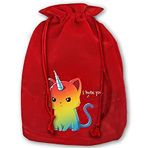 Four Unicorns Of The Apocalypse Red Velvet Drawstring Christmas Decoration Large Santa Claus Gift Stocking Presents Bag Sack For Christmas Wedding Gifts