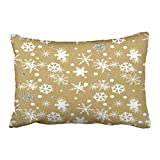 Emvency Pillowcases Xmas New Year Dec Throw Lumbar Pillow Case Country Christmas Kraft Snowflake Decor Decorative Cushion Cover Case Protectors Queen 20x30 Inches One Side Sofa Couch