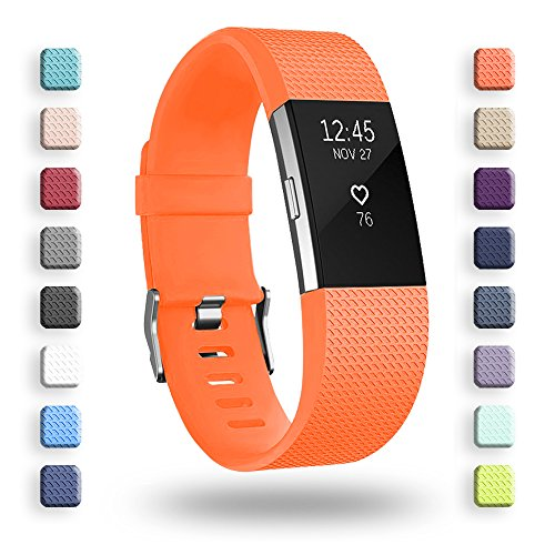 POY Replacement Bands Compatible for Fitbit Charge 2, Classic & Special Edition Sport Wristbands, Orange Small, 1PC