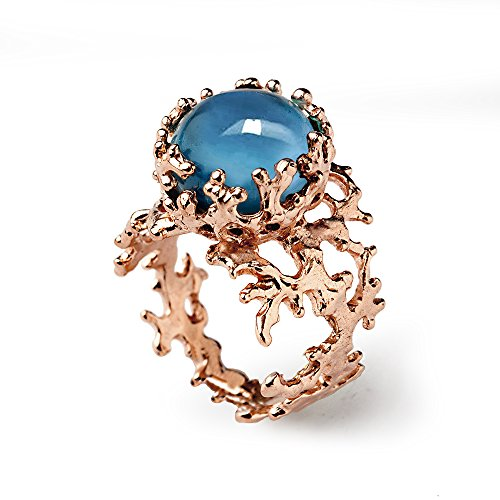 18k Rose Gold Plated Sterling Silver, Created London Blue Topaz 12mm Gemstone Coral Reef Statement Ring, Size 4 to 13