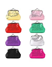 Soleebee 8 Pcs Sparkly Sequin Coin Pouch Purses Portable Jewelry Pouch for Women Girls