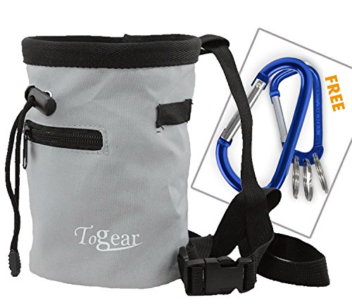 Togear Chalk Bag for Rock Climbing, Weightlifting, Bouldering & Gymnastics Workout Accessories, Quick-Clip Belt with Two Aluminium Carabiner Key Chain Clip Hooks (Gray-1) ()