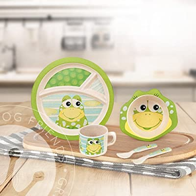 Green Frog Friends Kids Bamboo Meal Set