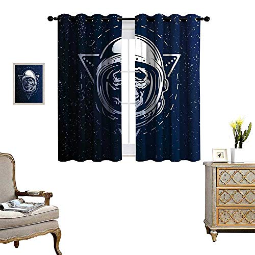 homehot Outer Space Blackout Window Curtain Dead Skull Head Icon Cosmonaut Costume Astronomy Terrestrial Horror Scare Image Customized Curtains Grey Blue for $<!--$48.80-->