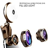BPSMedia® Phone Camera Lens Kit with Rechargeable LED Light for Smartphone / Tablet - Universal - Fisheye, Wide Angle and Macro Lens - Amazing Upgrade for Apple iPhone, Samsung Edge, Galaxy and many more