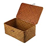 Vosarea Rattan Storage Basket Makeup Organizer Multipurpose Container with Lid