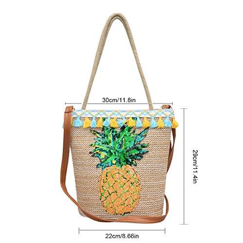 Women Bag Pattern Rattan Water Bag Beach Awhao Bohemian Single Bag Bag made shoulder Straw Shoulder Handmade Pineapple Straw Bucket 4YUqwdg