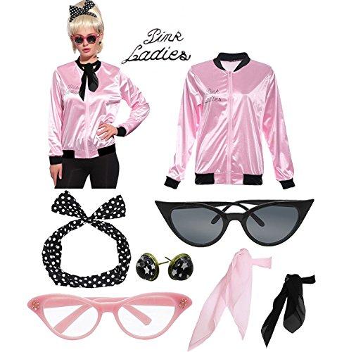 Retro 1950s Pink Ladies Polka Dot Style Headband Costume Accessories Set -