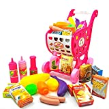 Leegoal Children Shopping Cart Supermarket Trolley Toy Set with 19pcs Toy Fruit/Vegetables/Condiment Bottles/Carton Pretend Play Toy Shopping Basket with Rolling Wheels for Boys Girls