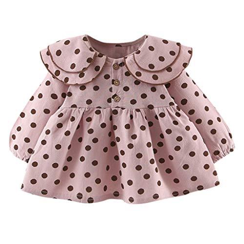 ❤️ Mealeaf ❤️ Infant Baby Girls Long Sleeve Ruffles Dot Print Dresses Clothes Dress(Pink,9/L)