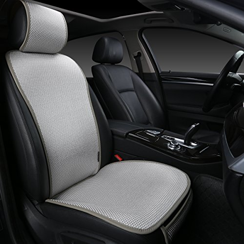 EDEALYN 1 Piece Breathable Ultra-Thin Ice Silk Non-Slip Car Seat Cushion Car Seat Cover Car Interior Decoration - Protection car Leather seat (Upgrade-Gray)