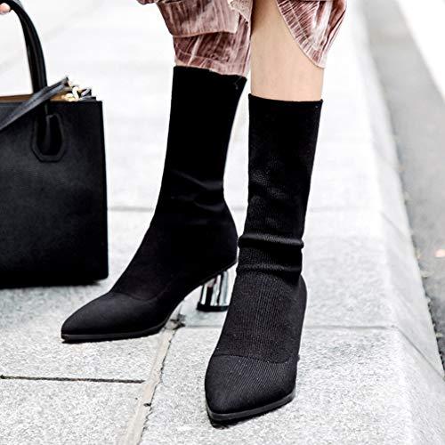 En De Formales Yan Vestir Mujer Moda Y Tacón Zapatos Botines Elásticas Noche Botas Boda Un Punta Para Alto nURZ1xY5R