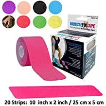Kinesiology Therapeutic Tape Precut Roll | Recovery Sports Athletic Physio Therapy Injury Support | Elastic Breathable Cotton Water Resistant Strong Adhesive | Tendon Joint Ligament Muscle Pain Relief