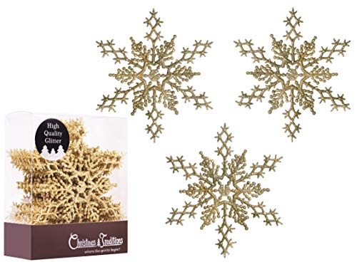Christmas Traditions 6 inch Gold Glittered Snowflake (Set of 18) Ornaments Hanging Tree Decorations
