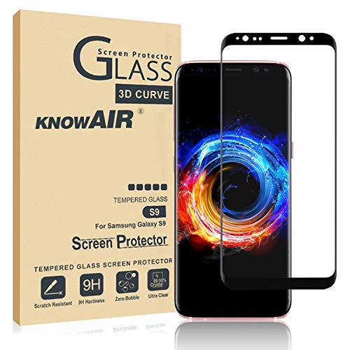 [2 Pack] Galaxy S9 Screen Protector Tempered Glass, [Update Version] KNOWAIR 3D Curved Dot Matrix [Full Screen Coverage] Glass Screen Protector [Case Friendly] for Samsung S9 ()