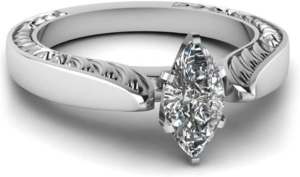 Gsdviyh36 Fashion Marquise Cut Cubic Zirconia Flower Carved Ring ...