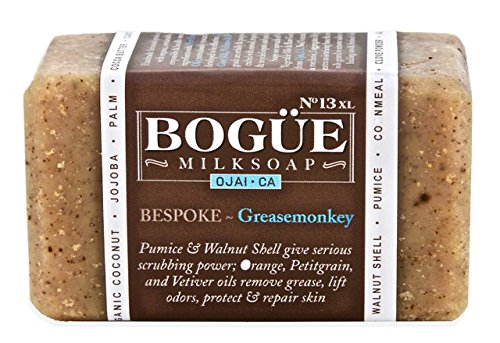 BOGUE Luxury Goat Milk Soap - No.13 BESPOKE Grease Monkey XL - Three Aggrigates to Exfoliate, Remove Grease and Smells and Essential Oils of Orange, Petitgrain & Vetiver to Heal Cuts and Abrasions