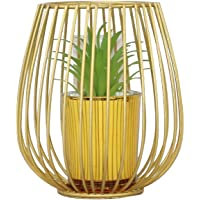 Arranjo Decorativo de Metal com Suculenta Artificial Cor: Ouro