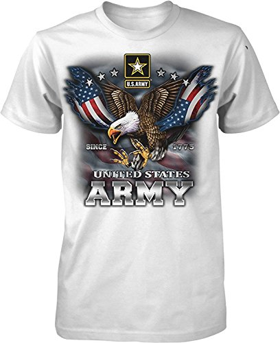 (US Army Since 1775 Eagle USA American Flag Wings Men's T-shirt , White, XL)