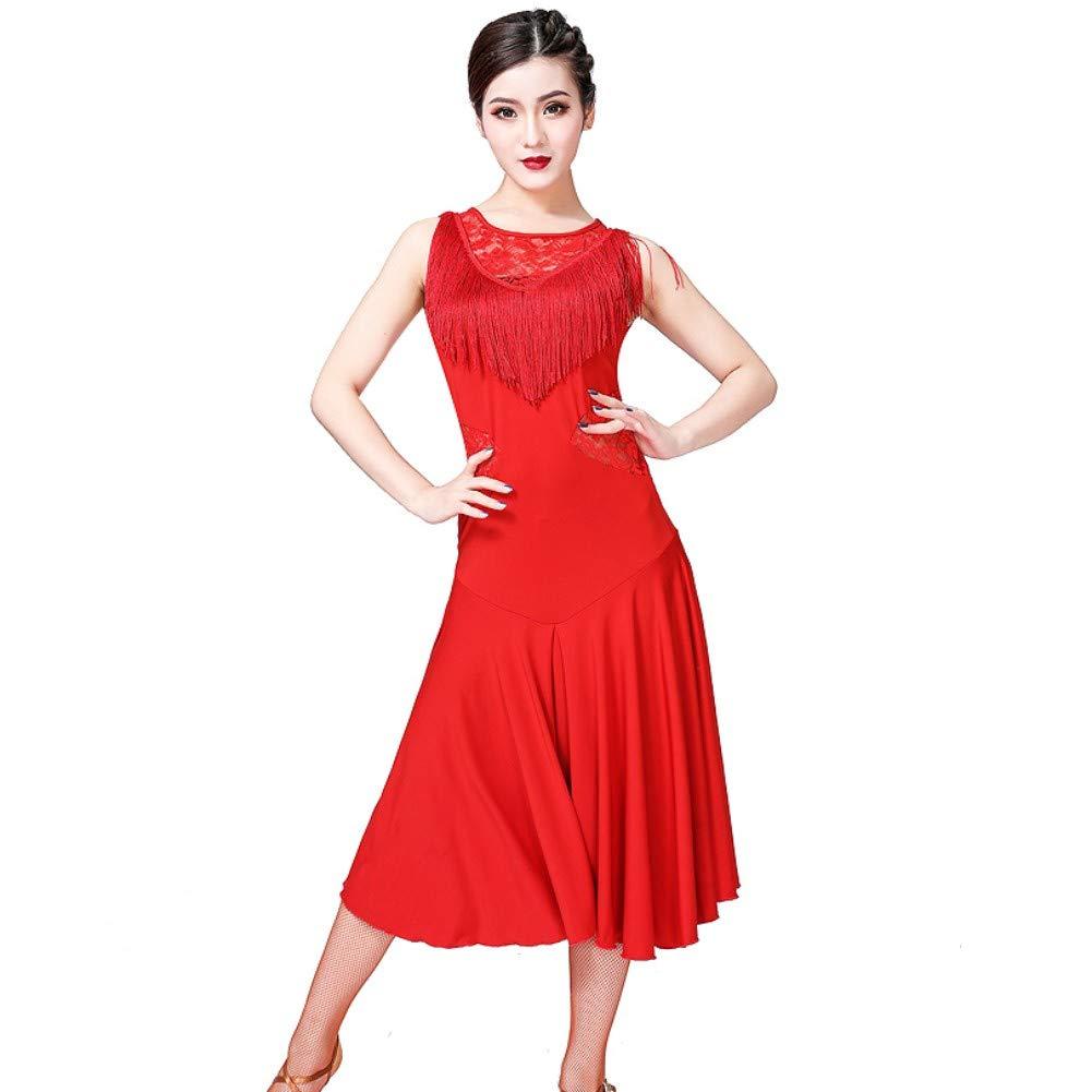 Qlans Women Latin Dancewear Lace Neck Tango Cha Cha Latin Dance Dress Practice Costume