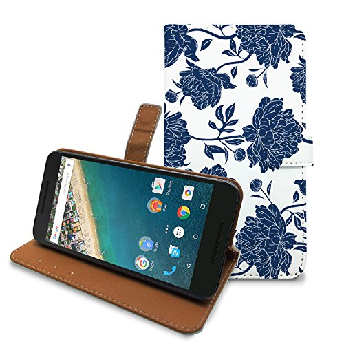 HelloGiftify Nexus 5X Case, PU Leather Case Wallet Cover with Card Slots and Stand Function (Blue Flower), LG Google Nexus 5X Flip Case