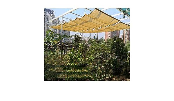 PENGFEI Retráctil Techo Ola Pabellón, Al Aire Libre Toldo Techo Wave Shade Slide on Wire Actualizado, Tamaño Personalizado (Color : Khaki, Size : 0.9x9M): Amazon.es: Hogar
