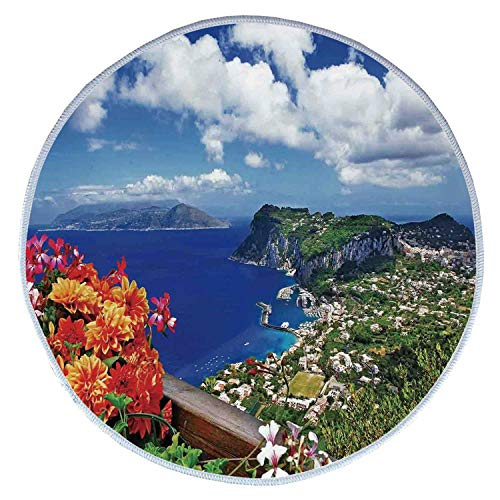 YOLIYANA Island Comfortable Round Pet Rug,Scenic Capri Island Italy Mountain Houses Flowers View from Balcony Landmark for Pet,Diameter 23 Inches