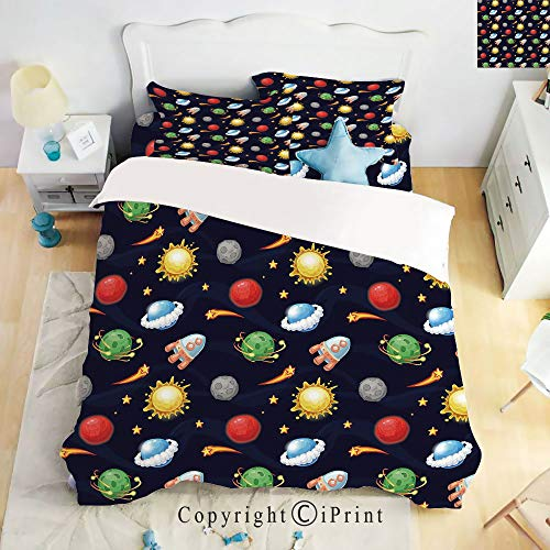 Homenon Bedding 4 Piece Sheet,Cartoon Style Cosmos Themed Illustration Sun with Stars Planets and Space Rocket Decorative,Multicolor,Full Size,Suitable for Families,Hotels