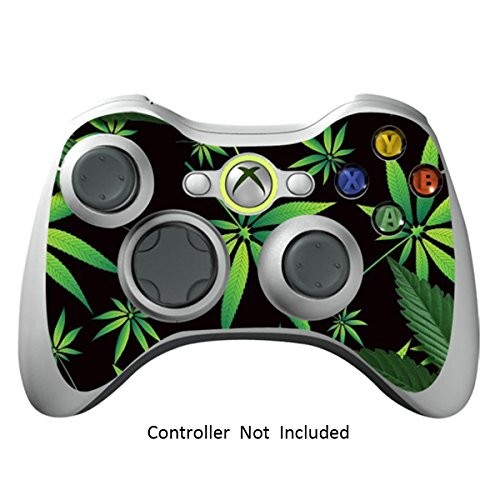 Skin Stickers for Xbox 360 Controller - Vinyl High Gloss Sticker for X360 Slim Wired Wireless Game Controllers - Protectors Stickers Controller Decal - Weeds Black [ Controller Not Included ]