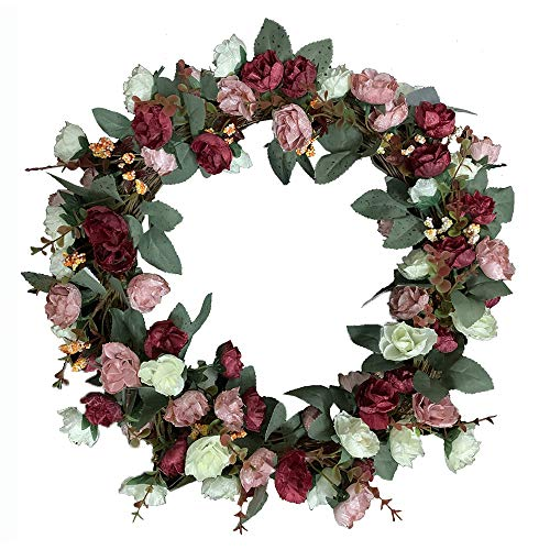 Rose Floral Twig Wreath, 16 Inch Handmade Artificial Flowers Solid Wood Garland Rose Wreaths for Front Door - Decor Home Office Wall Wedding Decoration Year Round Display -