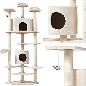 "80"" Pet Condo Cat Kitten House Tree High Quality,Cream Color"