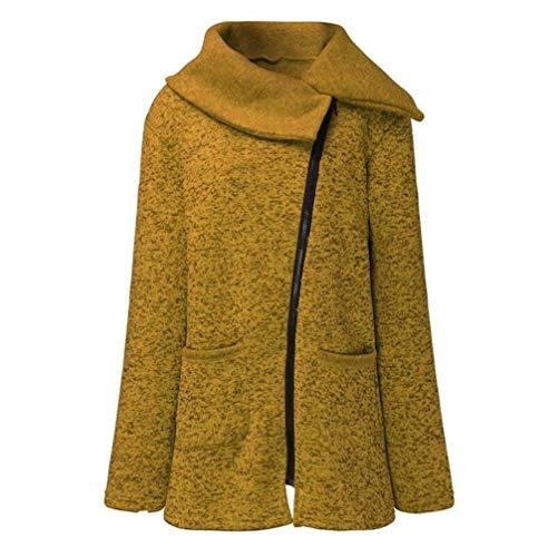 coloré Femmes Casual Col Long Bénitier Manteau Outwear Large Vert Taille Hiver Solide Jaune Côté Zipper Automne Vestes B7HnqW7S