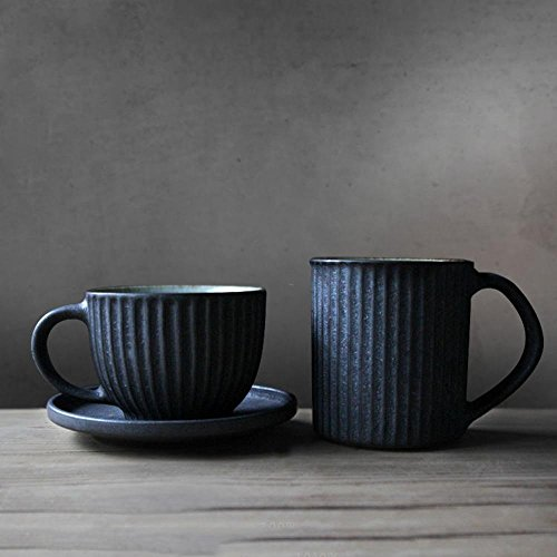 [SeeSung] Coarse Pottery Retro Coffee Cup Set Of 2 Personality Afternoon Tea Couple Mug